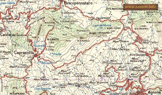 Area map of Monte del Cerro